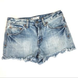 Free People Button Fly Cut-Off Denim Shorts